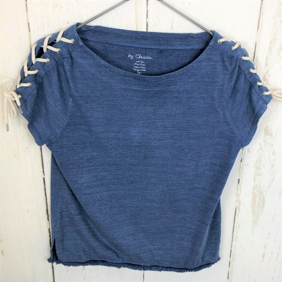 Chico's Tops - By Chicos Blue Rope Tie Nautical Fringe Knit Top